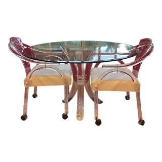 Charles Hollis Jones Lucite Dining Table Set - Set of 3