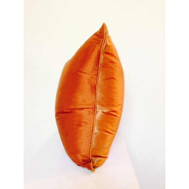 Image of Two Toned Orange Silk Pillow