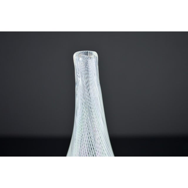 Modern White Spiral Hand Blown Art Glass Vase - Image 3 of 10