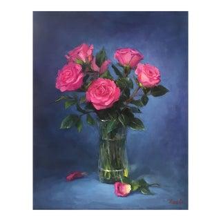 'Pink Roses' Original Oil Painting