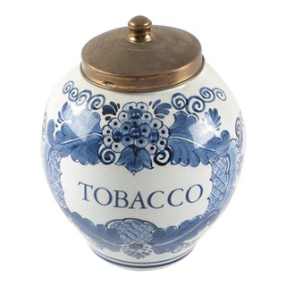Vintage Delft Hand-Painted Tobacco Canister
