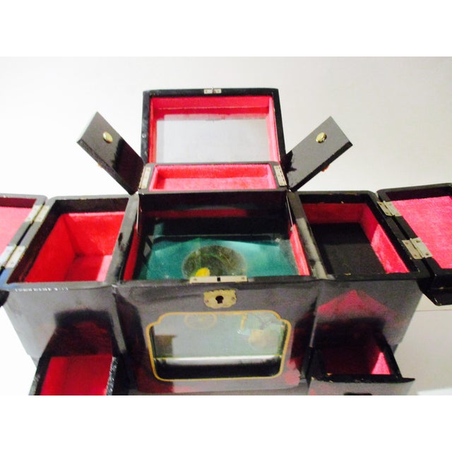 Asian Black Lacquer Jewelry Music Box - Image 6 of 11