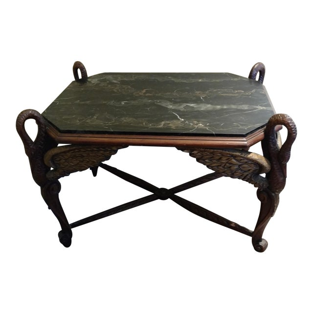 Marble And Carved Wood Accent Table: Antique Black Marble Top Wood Carved End Table