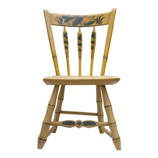 19th Century Carved and Stenciled Childs Chair
