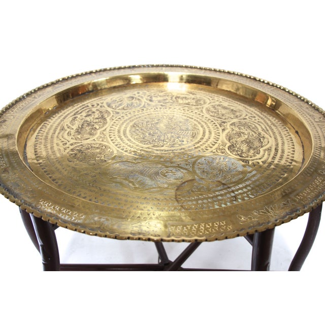 Brass Tray Coffee Table Vintage: Brass Tray Top Cocktail Table