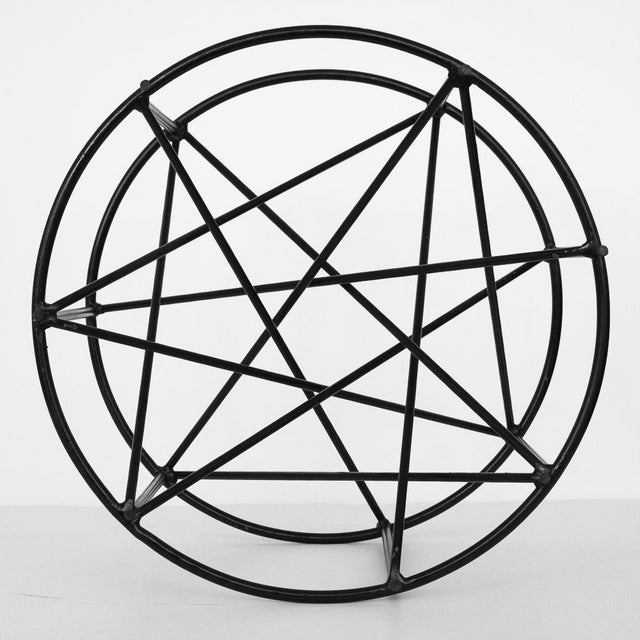 Black Steel Spokes Sculptural Glass Coffee Table - Image 9 of 9