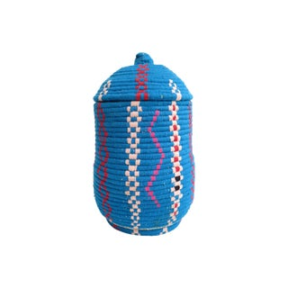 Handwoven Moroccan Blue Bread Basket