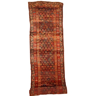 Handmade Antique Persian Kurdish Runner - 3.6' X 17.8'