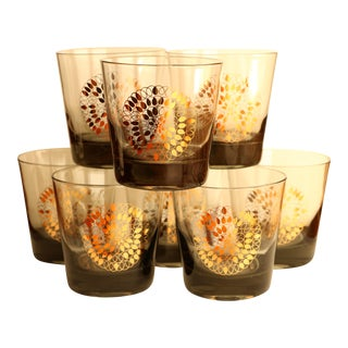 Gold Spirograph Smoked Lowball Glasses - Set of 8