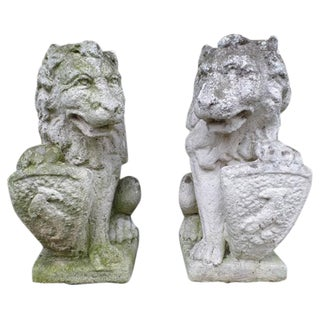 Pair of French 19th Century Hand-Carved Stone Sculptures of Lions