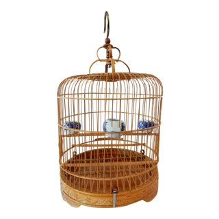 Bamboo Bird Cage w/ B & W Porcelain Bowls