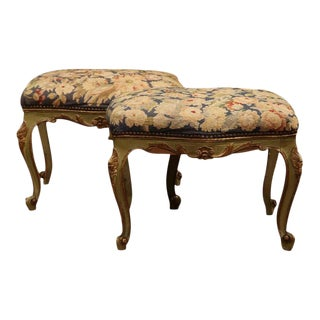 19th Century French Louis XV Painted Stools With Needlepoint Tapestry - A Pair