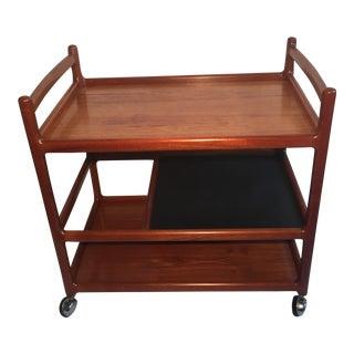 Johannes Andersen Mid-Century Solid Teak Bar Cart