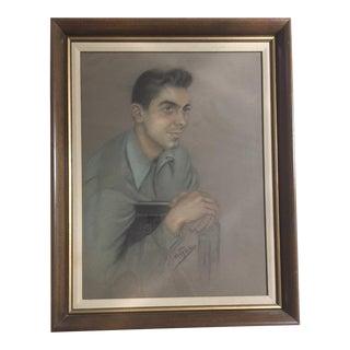 Mid-Century Pompadour Guy Pastel Portrait