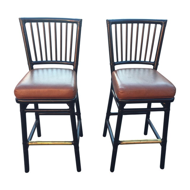 Vintage McGuire Rattan Brass Bar Stools- A Pair - Image 1 of 11