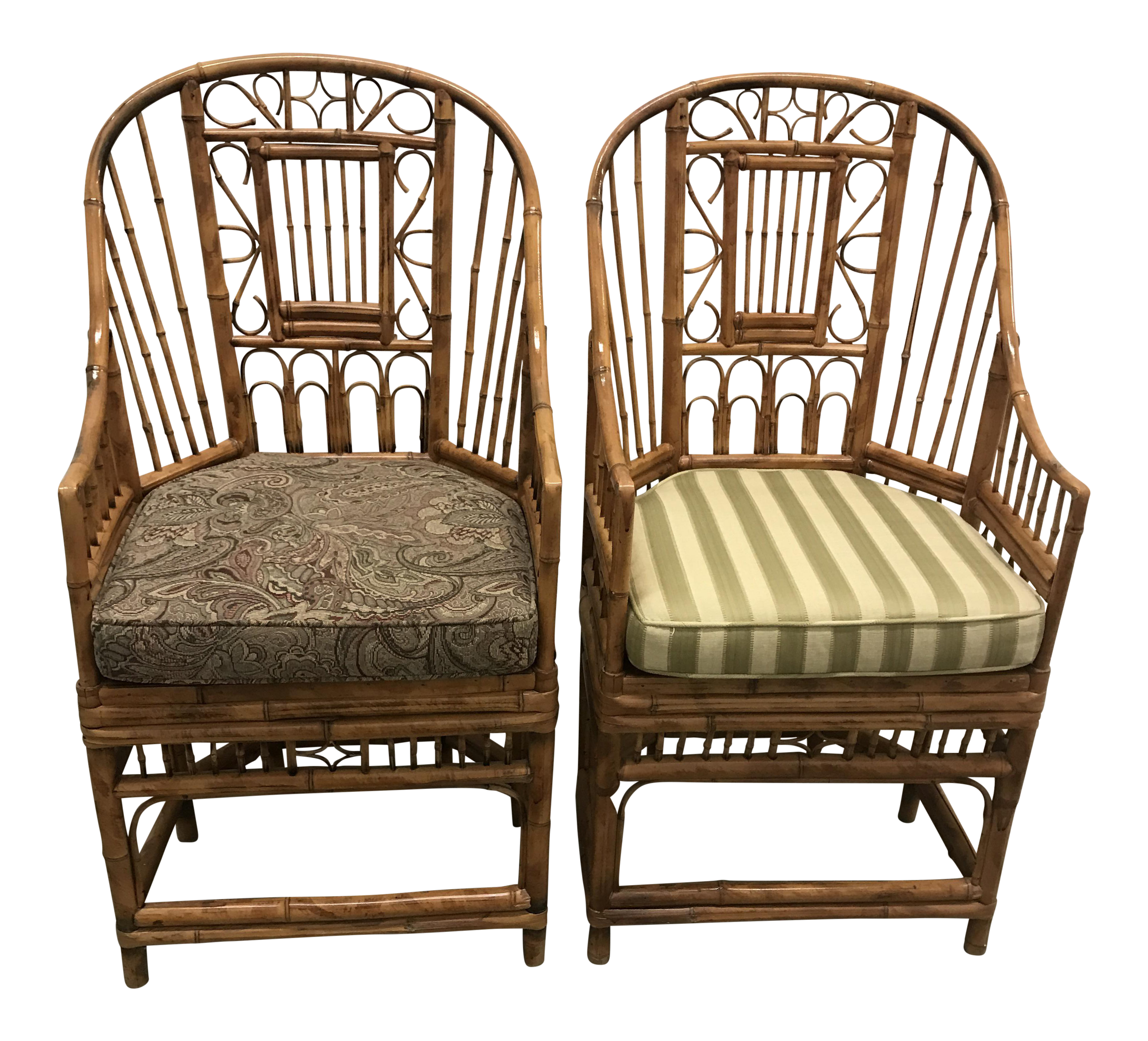 bamboo brighton chippendale chairs a pair