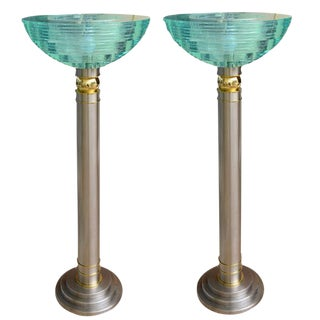 Pair of Heavy Mixed Metals and Stepped Lucite Torcheres