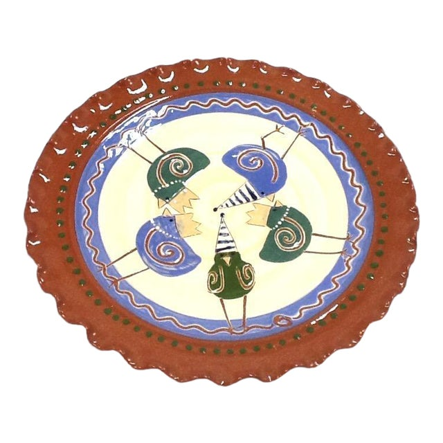 Handmade Chicken-Imagery Signed Pottery Tray - Image 1 of 5