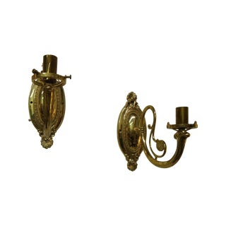 Vintage Brass Electric Wall Sconces - Pair