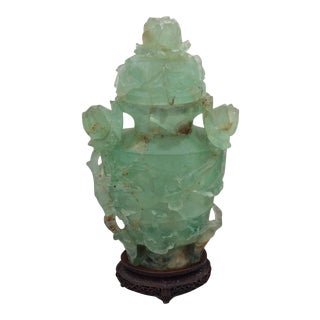 Chinese Carved Fluorite Jade Vase with Lid