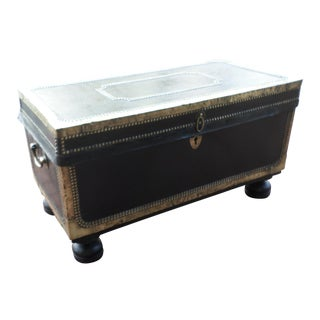 Early 19th Century Chinese Export Camphorwood Black Leather Trunk