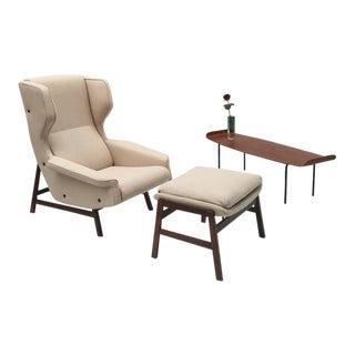 Ultra Rare Rosewood Gianfranco Frattini 877 Lounge Chair & Ottoman