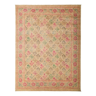 "Suzani, Hand Knotted Beige Wool Area Rug - 9' 0"" X 11' 10"""