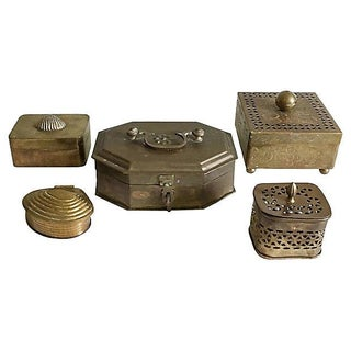 Vintage Brass Box Collection - Set of 5