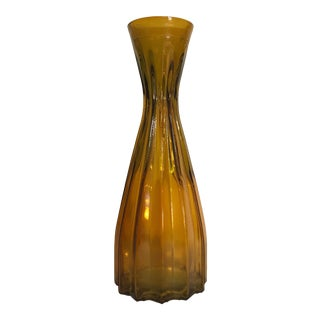 Vintage Art Deco Style Tall Amber Vertical Ribbed Mold-Blown Glass Vase