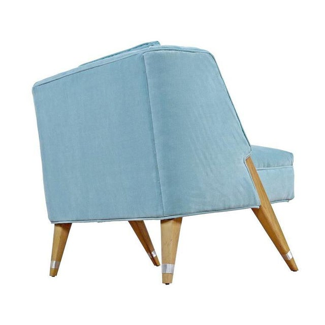 Mid-Century Modern Blue Slipper Chairs - A Pair - Image 3 of 4