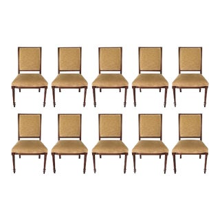 Traditional Style Velvet Dining Chairs - Set of 10