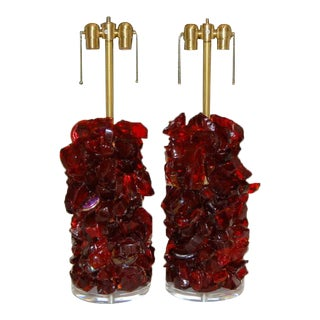 Rock Candy Glass Lamps in Garnet Red