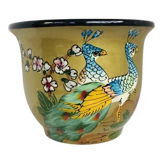 Gold Chinoiserie Ceramic Planter