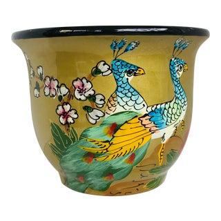 Gold Chinoiserie Ceramic Planter