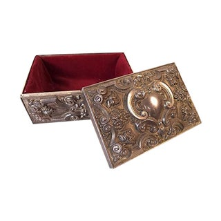 Ornate Silver-Tone Jewelry Box
