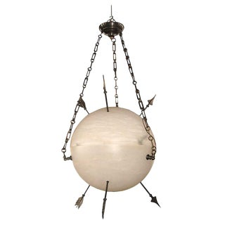 Contemporary Alabaster Armillary Sphere Chandelier