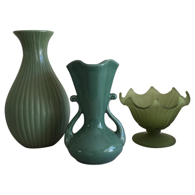 Green Ceramic & Frosted Glass Vases - Set of 3 - Image 1 of 11