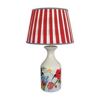 Mid-Century Floral Lamp With Red Custom Shade