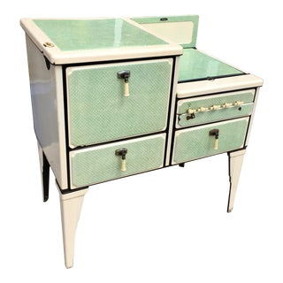 Antique Art Deco Jadite Green Enamel Stove