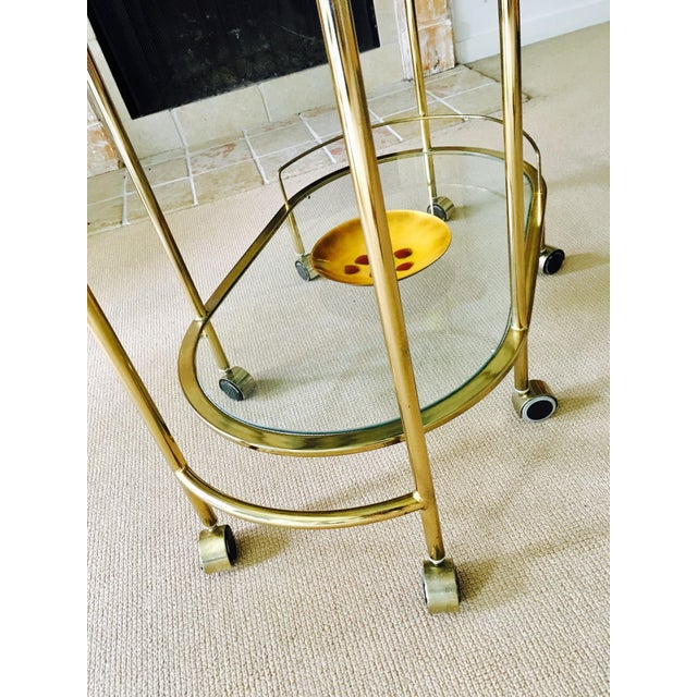 Vintage Triple Tiered Brass Swivel Bar Cart - Image 10 of 11