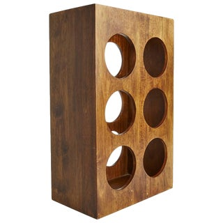 Sculptural Modern Walnut Magazine Rack