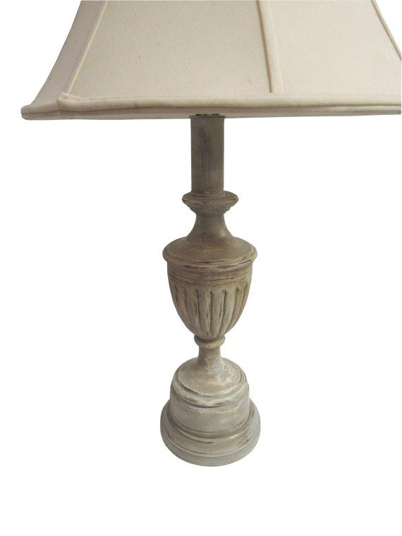 French Farmhouse Distressed Wooden Table Lamps A Pair