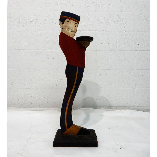 Image of Antique 30'' Wooden Liftboy Entrance Boy Stand
