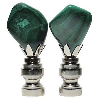 Polished Malachite Finials in Nickel - Pair