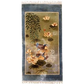 1980s Handmade Vintage Silk Chinese Art Deco Rug - 1.5' x 3'