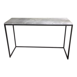 "West Elm 48"" Marble Top Iron Base Console"