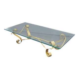 Vintage Spanish Revival Gilt Wrought Iron & Glass Coffee Table