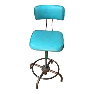 Turquoise Industrial Drafting Stool