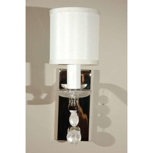 Image of Glass Ball Sconce with Rock Crystal