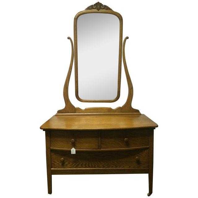 Solid Oak Antique Dresser/Vanity - Image 1 of 7